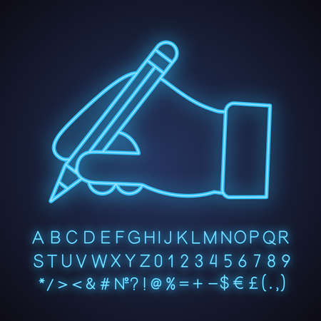 Hand holding pencil neon light icon. Handwriting. Drawing. Taking notes. Glowing sign with alphabet, numbers and symbols. Vector isolated illustration 일러스트
