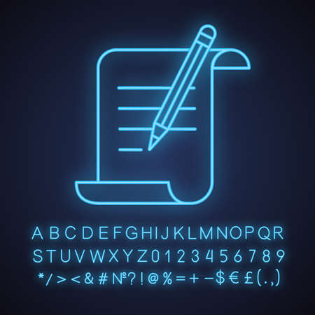 Paper scroll with text and pencil neon light icon. Handwriting. Document, certificate, manuscript. Glowing sign with alphabet, numbers and symbols. Vector isolated illustration