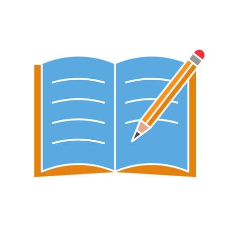 Quaderno con icona di colore del glifo a matita. Prendere appunti. Bloc notes. Simbolo di sagoma su sfondo bianco senza contorno. Spazio negativo. Illustrazione vettoriale