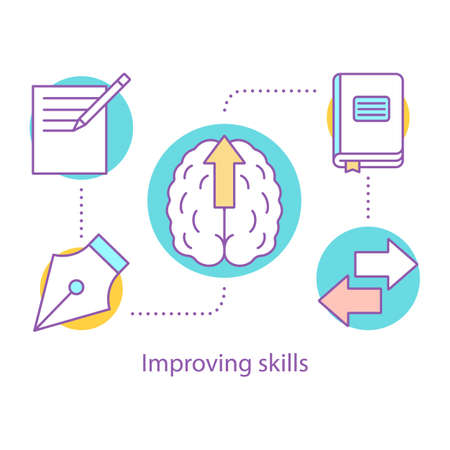 Skills improving concept icon. Education. Self development. Personal growth idea thin line illustration. Goal achieving. Vector isolated outline drawing Illustration