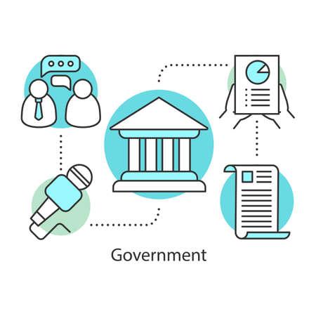 Icono del concepto de gobierno. Ilustración de línea fina de idea de política. Publicidad. Campaña política. Sistema de gobierno. Dibujo de contorno aislado del vector