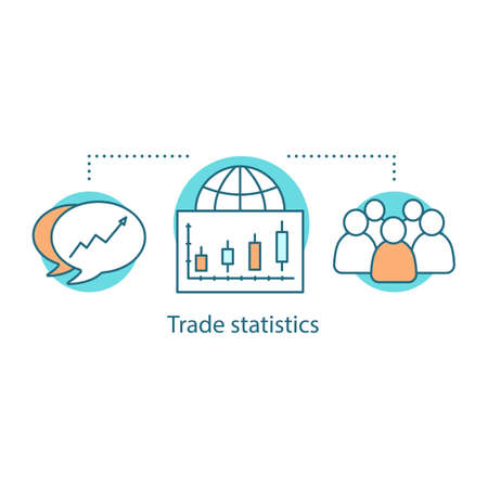 Trade statistics concept icon. Globalization idea thin line illustration. International trade. Society. Stock market analysis. Vector isolated outline drawing