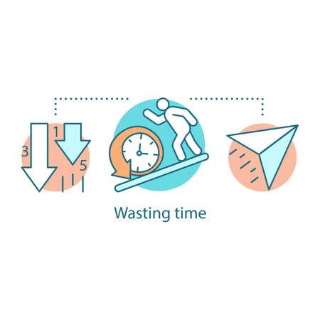 Icône de concept de perte de temps. Paresse. Faible productivité. Illustration de ligne mince idée de procrastination. Dessin de contour isolé de vecteur Vecteurs