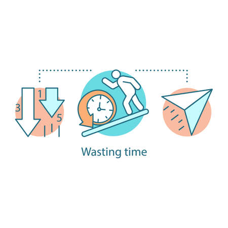Wasting time concept icon. Laziness. Low productivity. Procrastination idea thin line illustration. Vector isolated outline drawing Vettoriali