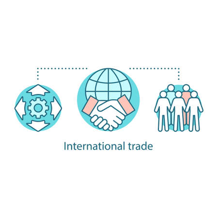 Global trade concept icon. International partnership. International relations and cooperation idea thin line illustration. Worldwide distribution. Vector isolated outline drawing