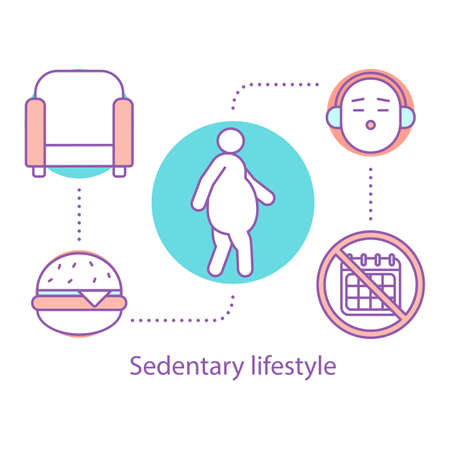 Sedentary lifestyle concept icon. Obesity problem idea thin line illustration. Physical inactivity and overweight. Vector isolated outline drawing