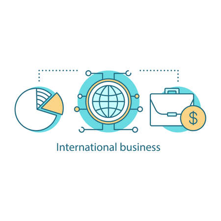 International business concept icon. Internationalization idea thin line illustration. Global trade. Vector isolated outline drawing 向量圖像