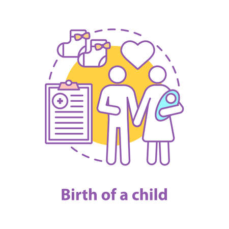 Family concept icon. Child birth. Parenthood idea thin line illustration. Mother, father and newborn baby. Vector isolated outline drawing