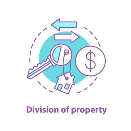 Division de l'icône de concept de propriété. Distribution immobilière. Achat, location ou vente de propriétés. Dessin de contour isolé de vecteur Vecteurs