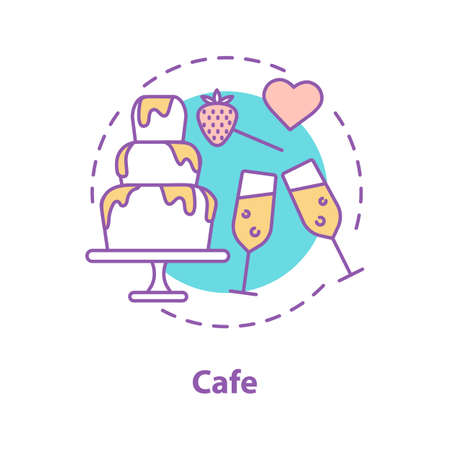 Cafe date concept icon. Couple in love pastime. Romantic relationships idea thin line illustration. Vector isolated outline drawing