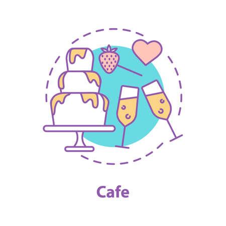 Icona del concetto di data di caffè. Coppia in amore passatempo. Illustrazione al tratto sottile idea di relazioni romantiche. Disegno di assieme isolato vettoriale Vettoriali