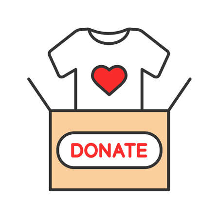 Clothes donating color icon. Donation box with t-shirt. Used clothes. Charity. Isolated vector illustration Ilustração