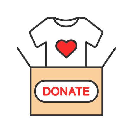 Icono de color de donación de ropa. Caja de donación con camiseta. Ropa usada. Caridad. Ilustración de vector aislado