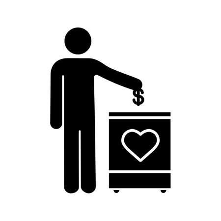 Icône de glyphe de boîte de don. Symbole de la silhouette. Tirelire. Collecte de fonds. Donnez de l'argent à des œuvres caritatives. Personne laissant tomber une pièce d'un dollar dans une boîte de don. Espace négatif. Illustration vectorielle isolée