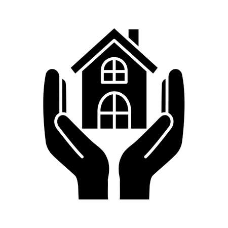 Affordable housing glyph icon. Silhouette symbol. Shelter for homeless. Real estate insurance. Hands holding house. Negative space. Vector isolated illustration
