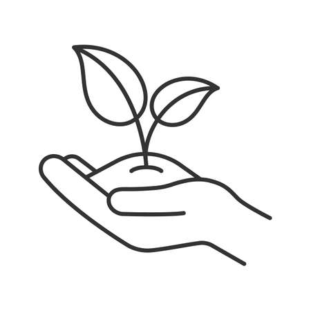 Greening linear icon. Environment protection. Open hand with sprout. Agriculture. Thin line illustration. Contour symbol. Vector isolated outline drawing
