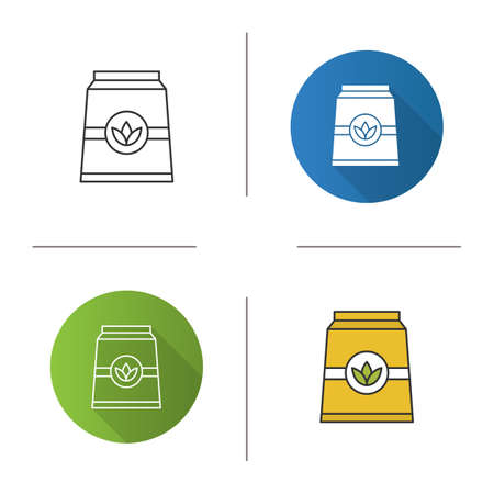 Tea paper package icon. Flat design, linear and color styles. Isolated vector illustrations Illustration