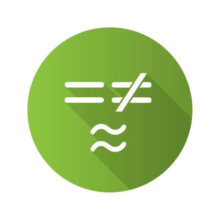 Símbolos matemáticos diseño plano icono de glifo de sombra larga. Igual, no es y aproximadamente igual a los signos. Ilustración de silueta de vector