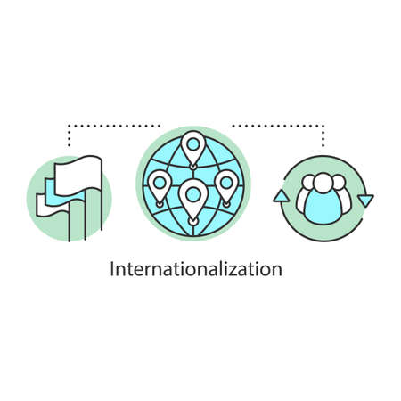 Internationalization concept icon. Socialization idea thin line illustration. Globalization. International relations. Vector isolated outline drawing 向量圖像
