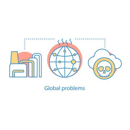 Icono del concepto de problemas globales. Ilustración de línea fina de idea de contaminación ambiental. Contaminación de residuos. Dibujo de contorno aislado del vector