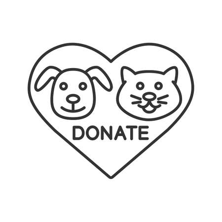 Donation for pets linear icon. Animals welfare. Thin line illustration. Heart with cat and dog snouts inside. Contour symbol. Vector isolated outline drawing Ilustração Vetorial