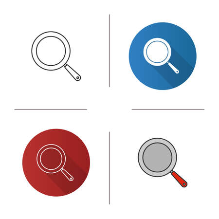 Frying pan icon. Frypan. Flat design, linear and color styles. Isolated vector illustrations 일러스트