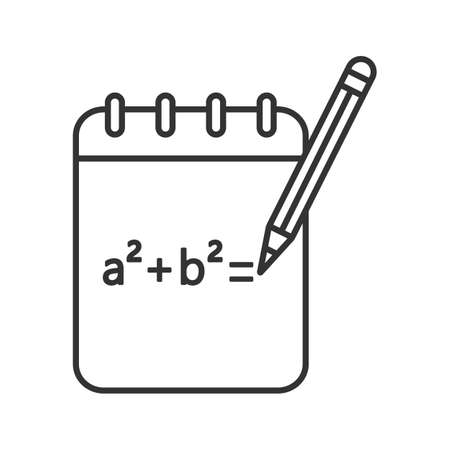 Notebook with math formula linear icon. Thin line illustration. Rough draft. Algebra calculations. Contour symbol. Vector isolated outline drawing Illustration