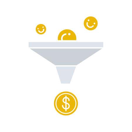 Sales funnel glyph color icon. Marketing funnel. Silhouette symbol on white background with no outline. Vector illustration Vektoros illusztráció
