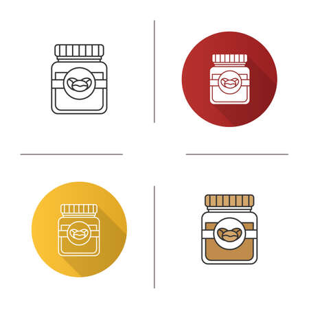 Coffee glass jar with lid icon. Flat design, linear and color styles. Isolated vector illustrations