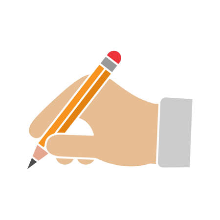 Hand holding pencil glyph color icon. Handwriting. Drawing. Taking notes. Silhouette symbol on white background with no outline. Negative space. Vector illustration