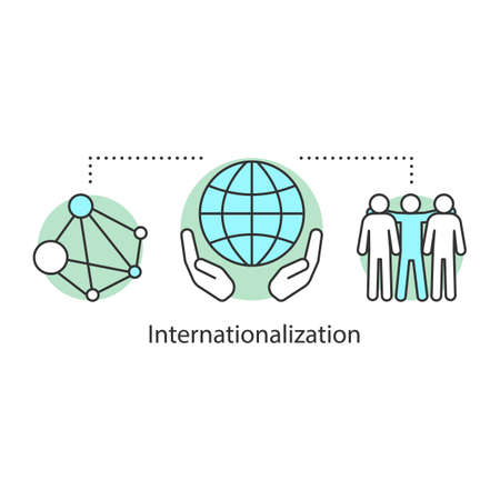 Internationalization concept icon. Socialization idea thin line illustration. Globalization. International relations. Networking. Vector isolated outline drawing Vettoriali