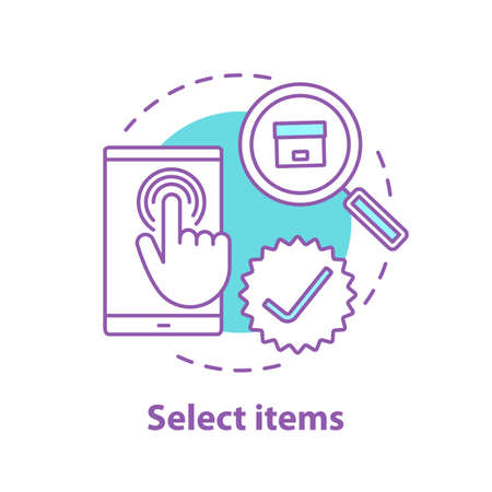 Select items concept icon. Choosing goods or services idea thin line illustration. Parcel tracking. Vector isolated outline drawing Illustration