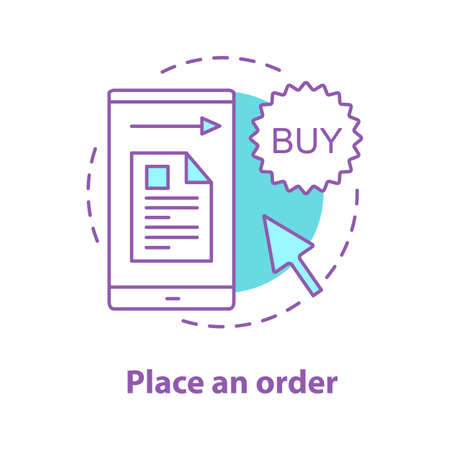 Order placing concept icon. Online shopping idea thin line illustration. Merchandise. Vector isolated outline drawing