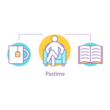 Pastime concept icon. Procrastination idea thin line illustration. Time for rest. Reading book with cup of tea. Waiting. Vector isolated outline drawing