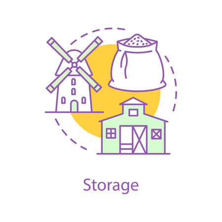 Wheat storage and mill concept icon. Grain elevator idea thin line illustration. Agricultural industry. Farming. Vector isolated outline drawing Illusztráció