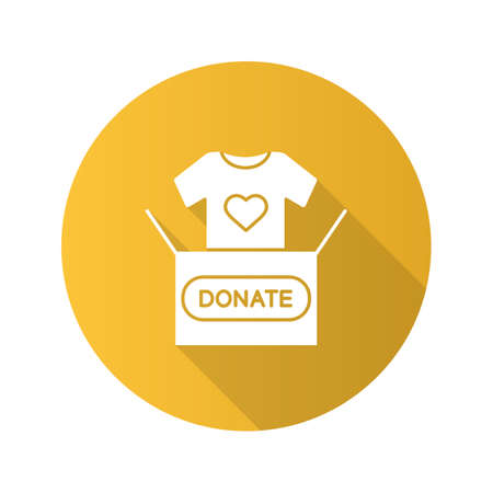 Clothes donating flat design long shadow glyph icon. Donation box with t-shirt. Used clothes. Charity. Vector silhouette illustration