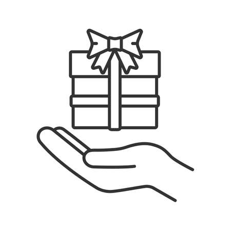 Present linear icon. Open hand with gift box. Thin line illustration. Giving, getting gift. Contour symbol. Contour symbol. Vector isolated outline drawing