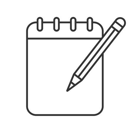 Notepad with pencil linear icon. Thin line illustration. Taking notes. Contour symbol. Vector isolated outline drawing