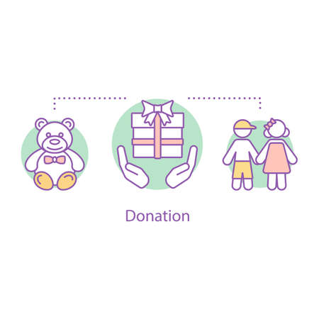Donation concept icon. Children's charity idea thin line illustration. Donate gift to child. Charitable foundation. Children protection. Vector isolated outline drawing Ilustração