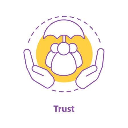 Icono del concepto de confianza. Defensa, ilustración de línea fina de idea de protección. Dibujo de contorno aislado del vector Ilustración de vector