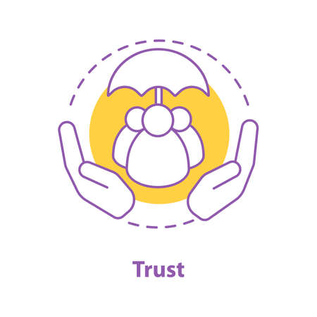 Trust concept icon. Defence, protection idea thin line illustration. Vector isolated outline drawing Vector Illustration