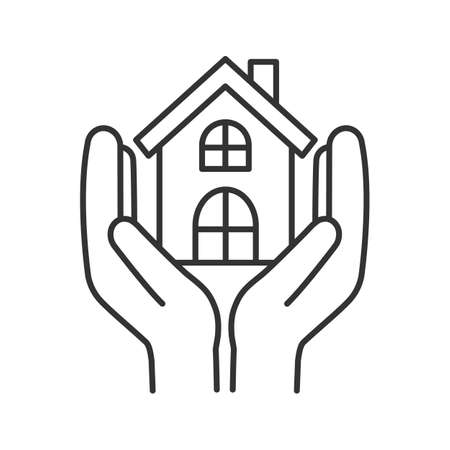Affordable housing linear icon. Shelter for homeless. Thin line illustration. Hands holding house. Contour symbol. Vector isolated outline drawing