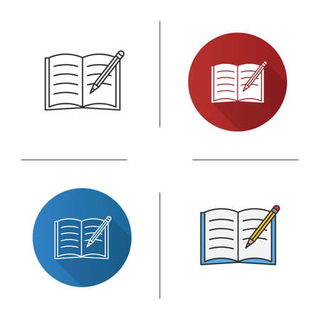 Copybook with pencil icon. Taking notes. Notepad. Flat design, linear and color styles. Isolated vector illustrations