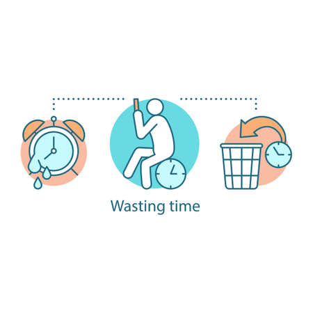 Wasting time concept icon. Laziness. Low productivity. Procrastination idea thin line illustration. Vector isolated outline drawing Illustration