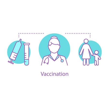 Vaccination concept icon. Pediatrics idea thin line illustration.