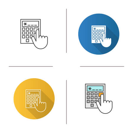 Calculator icon. Accountant's or bookkeeper's hand. Ilustración de vector