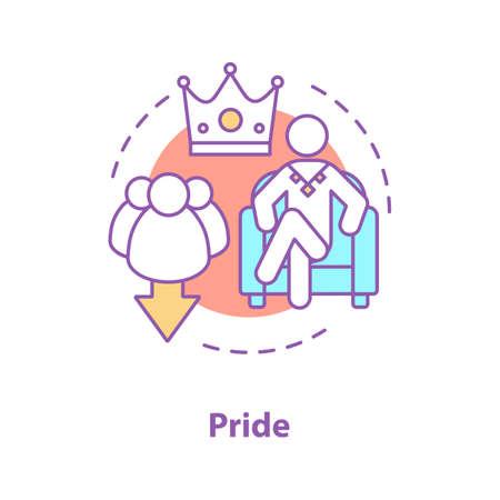 Pride concept icon. Arrogance idea thin line illustration.