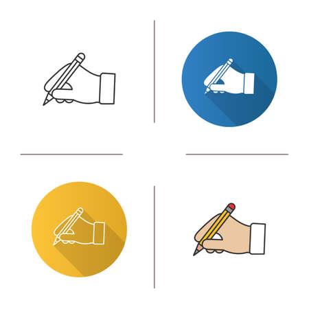 Hand holding pencil icon. 일러스트