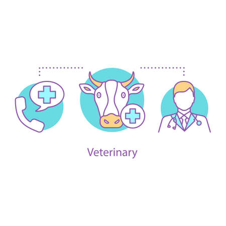 Livestock veterinary service concept icon. Animals pharmacy and clinic idea. Vecteurs