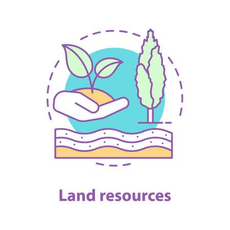 Icona di concetto di risorse di terra. Illustrazione al tratto sottile dell'idea dell'ecosistema.